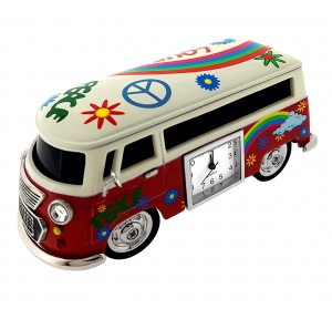 VAN MINIATURE HIPPY VW STYLE VINTAGE BUS COLLECTIBLE MINI CLOCK