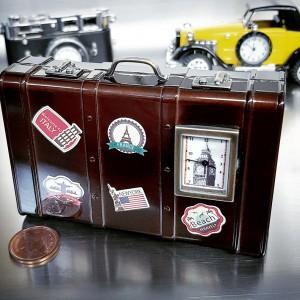 SUITCASE TRAVEL THEME MINIATURE LUGGAGE COLLECTIBLE MINI CLOCK w BIG BEN