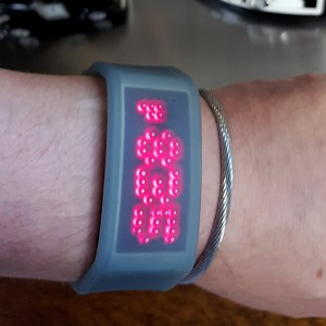 MATRIX CUFF - VERY RARE VINTAGE SCROLLING LED WATCH IN TRANSLUCENT GEL CASE