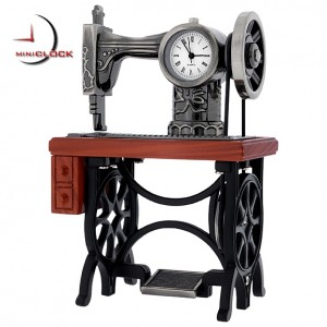 Miniature Clock, Vintage Treadle SEWING MACHINE
