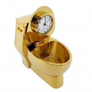 TOILET MINIATURE GOLD THRONE COLLECTIBLE DESKTOP BATHROOM MINI CLOCK