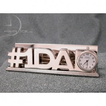 Mini Clock, Word Sign Business Card Holder - #1 DAD