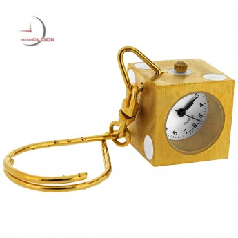 KEYCHAIN, Mini Gold LUCKY DICE Gamers Die Clock