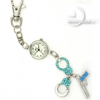 KEYCHAIN, Novelty Mini Clock GEM HANDCUFFS & PISTOL GUN