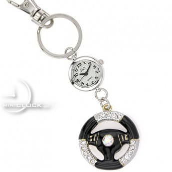 KEY CHAIN, Novelty Mini Clock SPORTS CAR STEERING WHEEL
