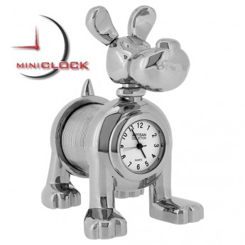 DOG w SPRING BODY & PEN FOR TAIL MINIATURE PET  COLLECTIBLE ANIMAL MINI CLOCK