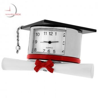Mini Clock, Silver GRADUATION HAT w/ Red Ribbon