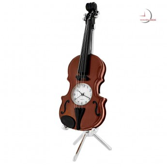 VIOLIN & STAND MUSIC MINIATURE CLOCK COLLECTIBLE DESKTOP GIFT