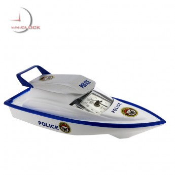 Miniature Clocks, Blue Police SPEED BOAT Alarm Clock