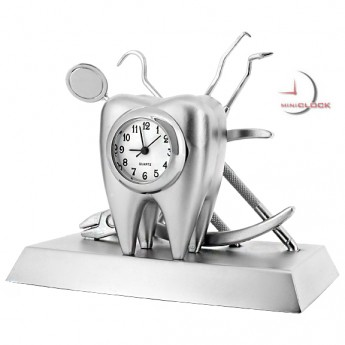 DENTIST SET w TOOTH & DENTAL TOOLS COLLECTIBLE MINI CLOCK GIFT
