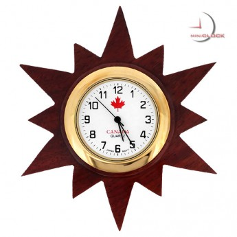 Mini Clock, Wooden 12 Point STAR MAGNET w/ Canadian Logo
