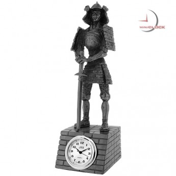 SAMURAI WARRIOR w SWORD MINIATURE STATUE DESKTOP MINI CLOCK