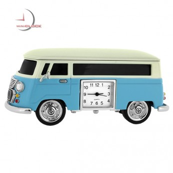 VAN MINIATURE VW STYLE VINTAGE BUS COLLECTIBLE VEHICLE MINI CLOCK