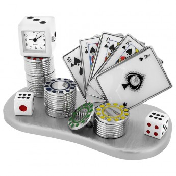 POKER ROYAL FLUSH CARDS MINIATURE - SPADES / CASINO COLLECTIBLE GAMBLING MINI CLOCK