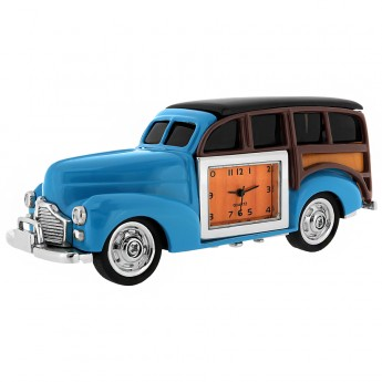 WOODY CLASSIC CAR MINIATURE COLLECTORS DESKTOP MINI CLOCK GIFT