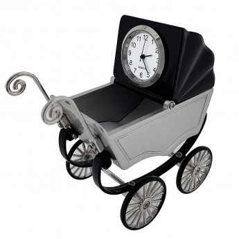 BABY BUGGY VINTAGE STROLLER MINI COLLECTIBLE DESK CLOCK