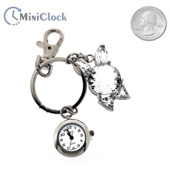 RABBIT EARS CRYSTAL BUNNY MINI CLOCK WATCH KEYCHAIN