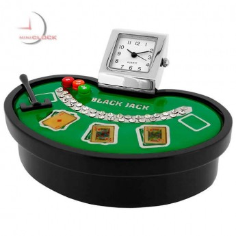 BLACKJACK MINIATURE BLACK JACK TABLE COLLECTIBLE CASINO GAMBLING CARDS GAME MINI CLOCK
