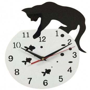 CAT & FISHBOWL WALL CLOCK ACRYLIC HOME DECOR CAT LOVER DESIGN IDEA