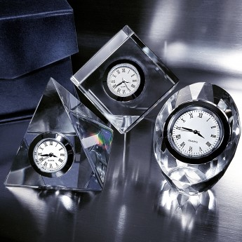 GROUP of CLASSIC CRYSTAL DESK CLOCKS; OVAL, SQUARE, PYRAMID