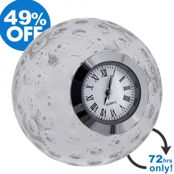 GOLF BALL CRYSTAL MINIATURE DESK CLOCK SPORTS COLLECTIBLE GIFT