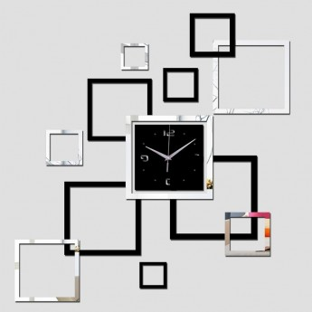 ELEGANT DESIGNER WALL CLOCK SQUARES PATTERN DIY HOME DECOR IDEA