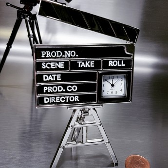 DIRECTOR CLAP BOARD MINI CLOCK DESKTOP MOVIE COLLECTIBLE GIFT IDEA