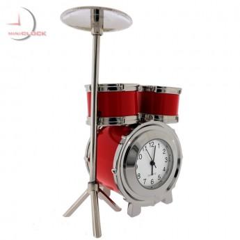 DRUM SET Miniature Desktop Clock Gift for Musician & Collectors