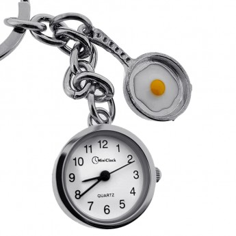EGG in FRYING PAN KEY CHAIN RING PENDANT w WORKING TINY CLOCK CHARM