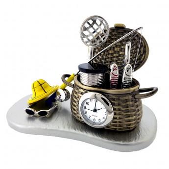 FISHING BASKET MINIATURE CREEL GEAR & ROD COLLECTIBLE MINI CLOCK