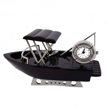 FISHING BOAT MINI CLOCK TRAWLER COLLECTIBLE MINIATURE
