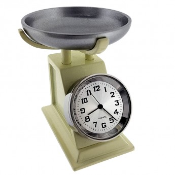 VINTAGE KITCHEN FOOD SCALE MINI COLLECTIBLE SHELF CLOCK