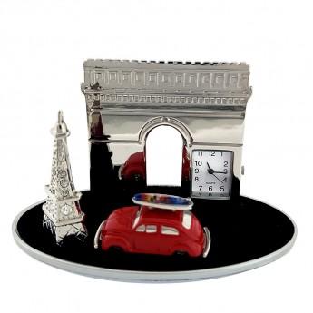 FRANCE ICONS MINATURE EIFFEL TOWER & ARC DE TRIOMPHE w VW BUG CAR COLLECTIBLE MINI CLOCK