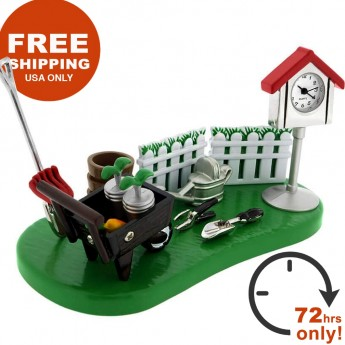 GARDEN MINIATURE GARDENER MINI CLOCK GARDENING TOOLS w BIRD HOUSE