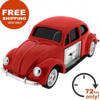 BEETLE VW BUG STYLE RED CAR MINIATURE COLLECTIBLE MINI DESK CLOCK