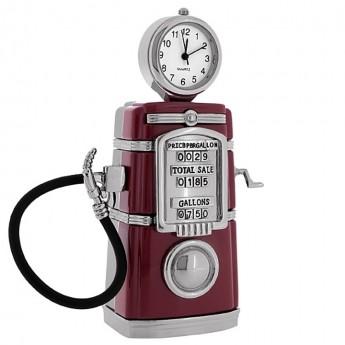 GAS PUMP MINIATURE VINTAGE STYLE PETROL COLLECTIBLE MINI CLOCK