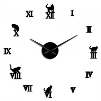 GIANT DIY 3D CATS WALL CLOCK CAT FELINE HOME DECOR