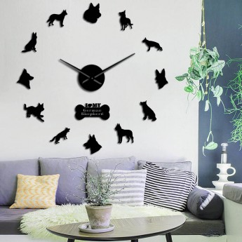 GIANT DIY 3D DOG WALL CLOCK GERMAN SHEPHERD K9 HOME DECOR