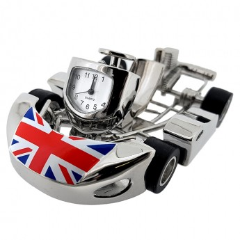 RACING GO CART MINIATURE  CLOCK w BRITISH FLAG / UNION JACK DESKTOP GIFT