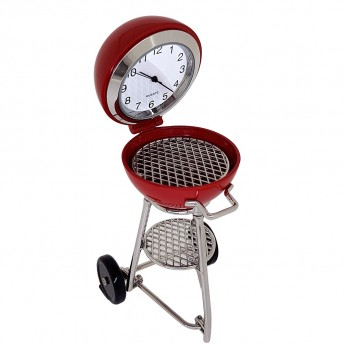 BARBECUE GRILL MINIATURE COLLECTIBLE DESK CLOCK
