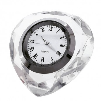 HEART DIAMOND CUT CRYSTAL MINIATURE DESK CLOCKS MINI CLOCK VALENTINES GIFT IDEA