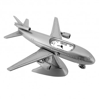 JET PASSENGER PLANE MINIATURE CLOCK DIECAST AVIATION COLLECTIBLE MINI GIFT