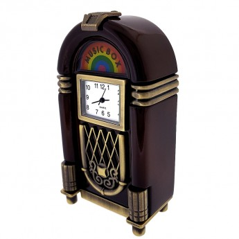 JUKEBOX MINIATURE MUSIC VINTAGE STYLE COLLECTIBLE MINI CLOCK