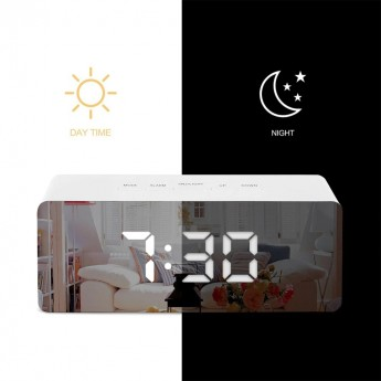ALARM CLOCK with BIG LED DISPLAY, MIRROR & TEMPERATURE