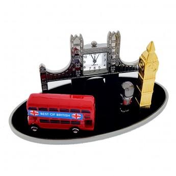 BRITISH BEST MINIATURE LONDON BRIDGE BIG BEN DOUBLE DECKER BUS ROYAL GUARD  COLLECTIBLE MINI CLOCK