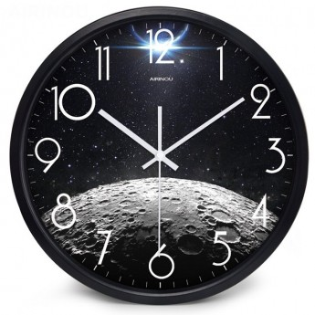 SPACE MOON MOONSCAPE WALL CLOCK DEN OFFICE BEDROOM HOME DECOR IDEA