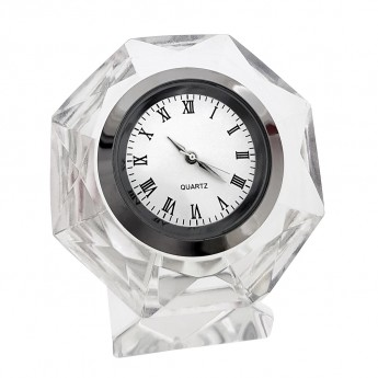 OCTAGON DIAMOND CUT CRYSTAL MINIATURE DESK CLOCK