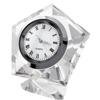 PENTAGON DIAMOND CUT CRYSTAL MINIATURE DESK CLOCKS MINI CLOCK