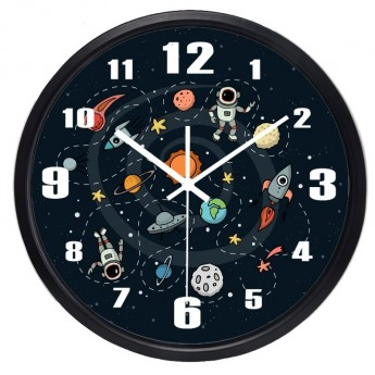 SPACE TRAVEL ASTRONAUT & PLANETS WALL CLOCK CHILDREN BEDROOM HOME DECOR IDEA