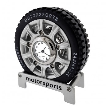 MOTORSPORTS TIRE MINIATURE CAR WHEEL RACING COLLECTIBLE MINI CLOCK